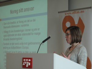 Ingrid Hjertaker gir landsmøtet en sniktitt på rapporten Den andre siden av finanskrisen - Norge som kreditor