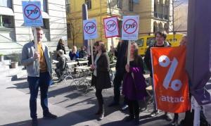 Markering mot TTIP utenfor Litteraturhuset