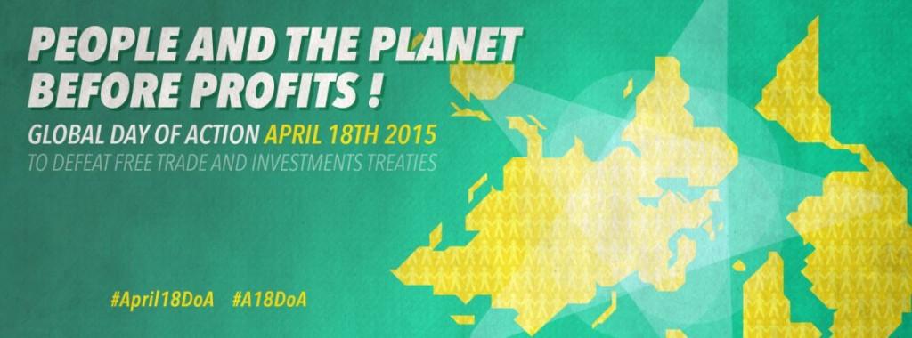 Global day of action 18. april. Klikk for den internasjonale siden